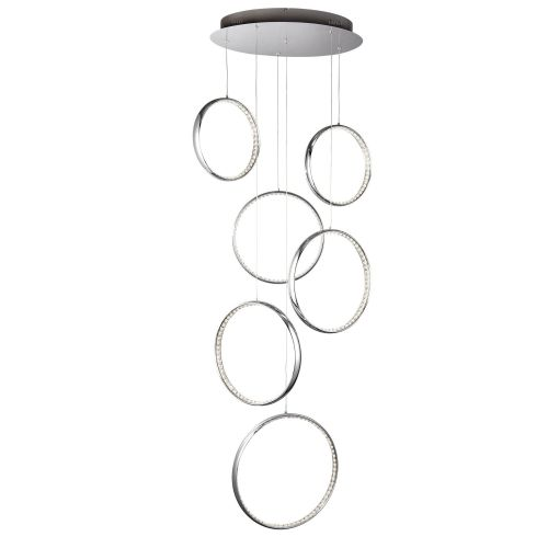 Rings Led 6 Rings Ceiling Muliti-Drop, Chrome, Clear Crystal (Double Insulated) Bx3166-6Cc-17